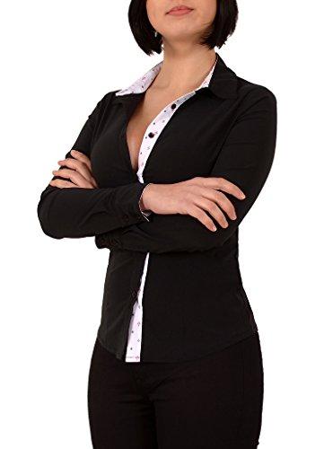 by-tex Damen Stretch - Business - Bluse Damen Popeline Bluse Hemd Langarm in Schwarz, Weiß Aktuelle Farben B141