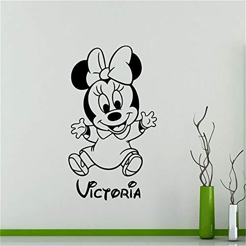 stickers muraux Autocollant Autocollant Mickey Minnie Mouse Wall Art Decal personnalisé Minnie Mouse Sticker Pépinière Personnalisé Bébé Nom de Bande Dessinée Sticker Mural Décor À La Maison Enfants