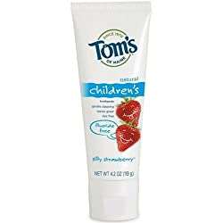 Toms of Maine Natural Fluoride Free Toothpaste for Children, Silly Strawberry 4.2 oz (Pack of 6)