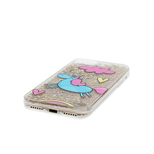 iPhone 6S Plus Custodia, Glitter silicone Bling Nuoto divertente design liquido Case iPhone 6 Plus / 6s Plus copertura ( 5.5 pollice ) Cover Shell Graffi Resistenti Cartoon Torre e ring supporto COLOR 1