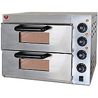 Beeketal 'BPO33-2' Profi Doppel Kammer Pizzaofen mit 2x 400x400 mm Schamottstein Backflächen, Gastro Steinbackofen für…