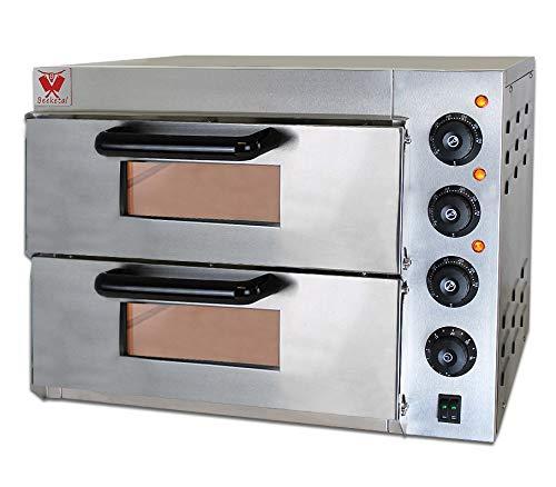 Beeketal 'BPO33-2' Profi Doppel Kammer Pizzaofen mit 2x 400x400 mm Schamottstein Backflächen, Gastro Steinbackofen für Pizza, Brot und Backwaren, Leistung 3000W, Pizzabackofen Temperatur bis zu 350°C