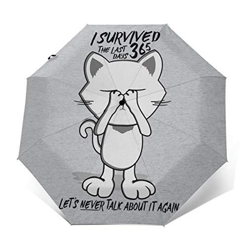 Survived The Last 365 Days Katzen-Regenschirm, Winddicht, kompakt, automatisch, faltbar, Reise-Sonnenschirm -