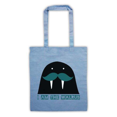 I Am il tricheco Slogan Tote Bag Azzurro