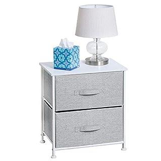 mDesign Nachttisch mit 2 Schubladen - Schrank Organizer aus Stoff - Aufbewahrungssystem für das Schlafzimmer und den Kleiderschrank - grau