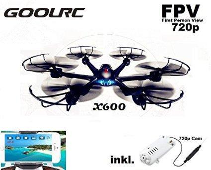 GoolRC MJX X600 Wifi FPV Live Übertragung Cam HD Hexacopter mit 300 Meter Reichweite, Mit Headless-Mode und One-Key Return, Sonderedition mit Fernsteuerung für Mode 1-4, mit C4010 WLan FPV Kamera