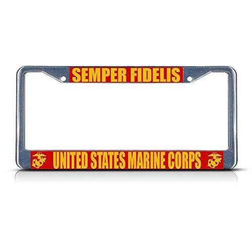 Semper Fidelis United States Marine Corps Metall-Kennzeichenrahmen, ideal für Herren und Damen, Auto-Garadge Dekor (Marine Tattoo Corp)