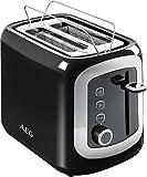 AEG AT3300 Perfect Morning Doppelschlitz-Toaster (integrierter Brötchenaufsatz, Staubschutz-Deckel, 7-stufige Bräunungsgrad Einstellung, Brötchenaufback-Funktion, Stopp-, Auftau- & Aufwärmknopf, Sensorelektronische Röstzeitsteuerung, Wärmeisolierte Cool-Touch-Gehäuse) Schwarz / Silber - 8