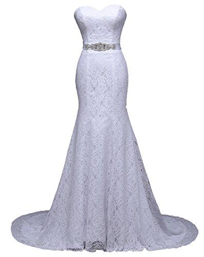 NEU Brautkleid Spitze 34 36 38 40 42 44 46 Braut Kleid Hochzeit Schleppe Strass Gürtel Meerjungfrau (38, Ivory)
