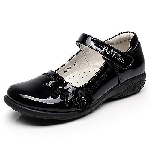 Mädchen Lackleder Mary Jane (rismart Kinder Mädchen Intelligent Haken & Loop Lackleder Mary Jane Halbschuhe Schuhe 81115(Schwarz,30 EU))