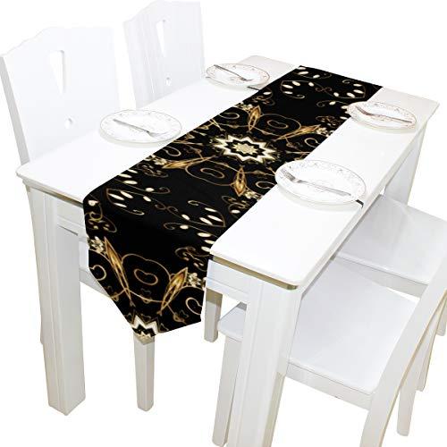 Metallic Goldbraun Muster Art Dresser Schal Stoffbezug Tischläufer Tischdecke Tischset Küche Esszimmer Wohnzimmer Home Hochzeitsbankett Dekor Indoor 13x90 Zoll -