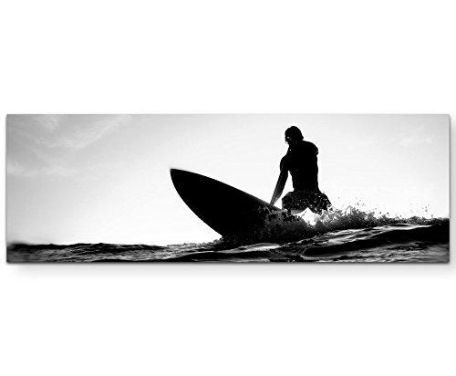 Eau Zone Wandbild auf Leinwand 120x40cm Surfer schwarz, weiß
