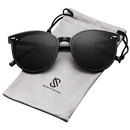 SOJOS Klassisch Retro Runde Sonnenbrille Damen Herren SJ2067 mit Schwarz Rahmen/Schwarz Linse