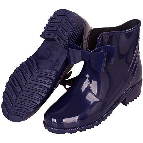 CCZZ Bottes de Pluie en Caoutchouc Bottines Cheville Boots Imperméables Rainboots Bottine de Chelsea Chaussures pour Femme Tailles: 36-41, Noeud Papillon/Bleu, 37 EU