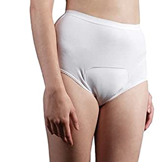 Ladies Cotton Comfy light incontinence Brief -X-small-Regular-White