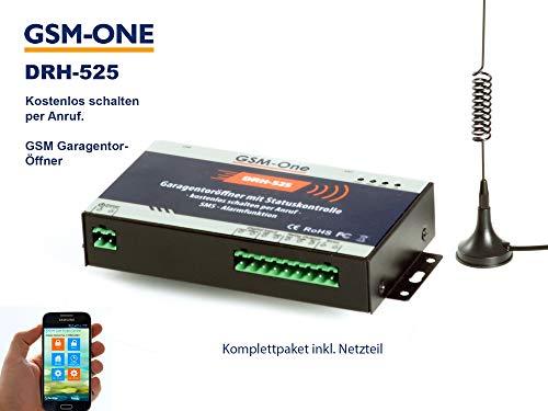 GSM Fernschalter 12V, Gate Opener, Garagentoröffner: Kostenlos Schalten per Anruf; KOMPLETTSYSTEM DRH-525 von GSM-One inkl. Netzteil, App und Handbuch in Deutsch -