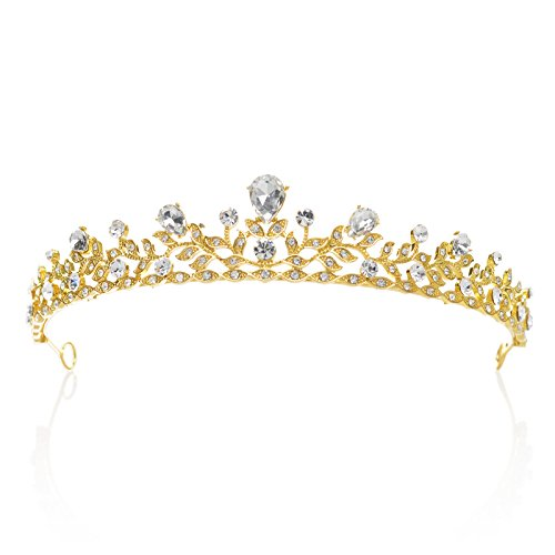 SWEETV Sparkling Crystal Princess Tiara Rhinestone Leaf Pageant Wedding Crown Hair Jewelry
