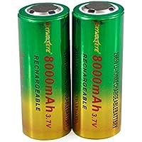 Webla 2pcs 3.7V 266508800mAh Li-Ion Batterie rechargeable pour lampe torche LED Lampe torche