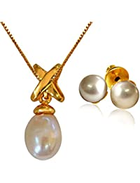 Surat Diamonds Hanging Drop Shaped Gold Plated Pendant With 22 IN & Real Pearl Stud Earrings For Girls H1509