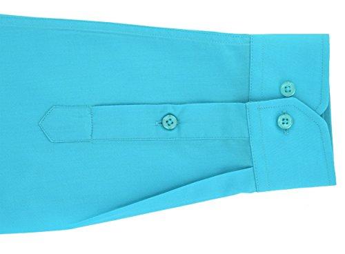 ENZO Camicia Uomo Classica Regular Fit Confortevole e Elegante con Maniche Lunghe da S a XXL Popeline Turchese