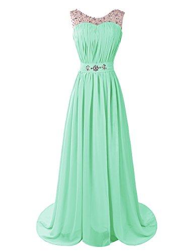 Dresstells, Robe de soirée de mariage/cérémonie/demoiselle d'honneur forme princesse traîne moyenne avec strass Menthe