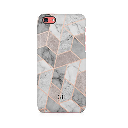 Geometric Marble Mosaic Customizable Personalised Name Custom Initials Gift For Him Or Her Protective Hard Plastic Case Cover For iPhone 5c