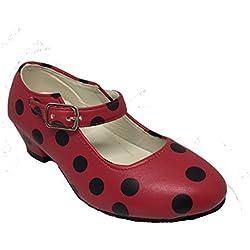 Zapato Flamenco Baile Sevillanas niña o niño mujer Rojo Rosa Lunares Negros (25, Rojo)