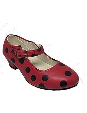 Zapato Flamenco Baile Sevillanas niña o niño mujer Rojo Rosa Lunares Negros