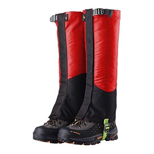 LLCP Scarpa da Sci Copertina, Oxford Scarpe Copertina, Outdoor Escursionismo Sabbia-Proof Piedi, Leggings Neve Impermeabile Set Pezzi,Red