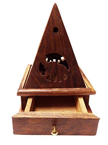 IndiaBigShop Holzkohlebrenner, Tempelformbrenner mit Schublade, Räuchergefäß aus Holz, Räucherstäbchen