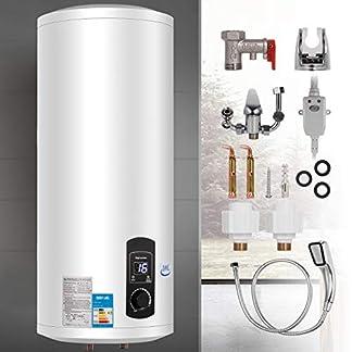 Bisujerro 100L Calentador de Agua Eléctrico 3KW Calentador de Agua con Tanque Hot Water Heater para Uso en Cocina o en Baño (100L)