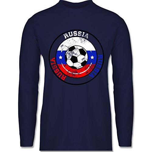 Shirtracer Fußball-WM 2018 - Russland - Russia Kreis & Fußball Vintage - Herren Langarmshirt Navy Blau