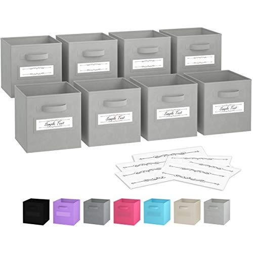 Faltbare Aufbewahrungsboxen (8er Set) | Boxen Werden Mit 2 Griffen & 10 Etikettenfensterkarten | Regal Korb | Faltbox Regalorganizer aus Stoff | Aufbewahrungsbox für Kallax 26,5x26,5x28 cm (Hellgrau) -