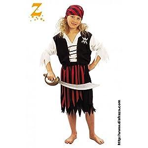 Fyasa 701181-t02pirata disfraz de niña, color negro/blanco, tamaño mediano