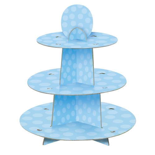 Unique Party 90399   Blue Polka Dot Baby Shower Cupcake Stand