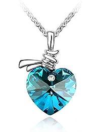 Très beau collier femme SWAROVSKI ELEMENTS , COLLIER COEUR BLEU,bijoux  femme est composé d