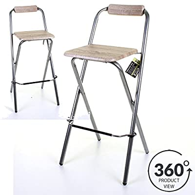 Marko Furniture Folding Wooden Bar Stool Chair Breakfast Kitchen Seating Silver Frame Seat Home - cheap UK light shop.