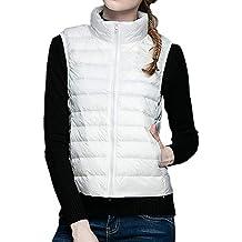 MYMYU Chaqueta de Mujer Abajo Abrigo Chaleco Packable Chaleco Ultraligero Chalecos sin Mangas Calentadores corporales