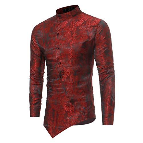 ESAILQ Männer Frühling Irraguler Slim Fit Langarm Printed Muscle T-Shirt Top Bluse(Large,Wein) (Edc Kostüm Männer)