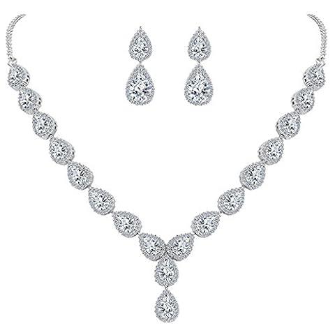 Clearine Women's Wedding Bridal Teardrop CZ Infinity Figure 8 Y-Necklace Dangle Earrings Set Clear