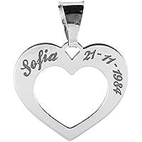 Ciondolo cuore traforato in argento 925 rodiato, con incisioni personalizzabili gratuite.