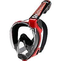 Cressi Duke Full Face Mask, Maschera Integrale Grande Visione Snorkeling con Tubo Dry Unisex Adulto, Nero/Rosso, M/L