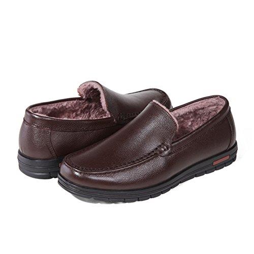 ailishabroy Mocassins chauds d'hiver chaussures hommes en cuir noir glisser sur Chaussures de ville à lacets marron