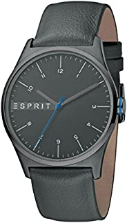 Esprit Men's Analogue Quartz Watch With Leather Strap Es1G034L0045, Grey