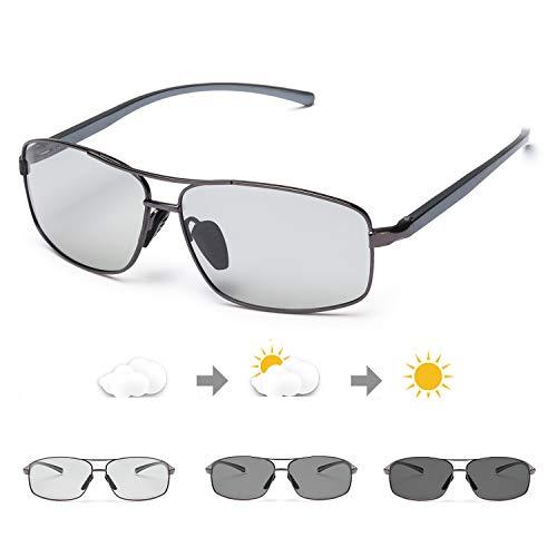 TosGad Herren Photochromatisch Polarisiert Selbsttönend Sonnenbrille Al-Mg Anti Reflexbeschichtung für Autofahren Laufen Radfahren Angeln Golf 100% UVA UVB Schutz Hoch (Grau/Grau Photochromatisch)