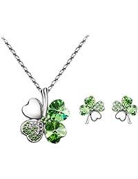 3-teiliges Set - Halskette und Ohrringe mit Kleeblatt-Anhangern mit Swarovski-Steinen - Lange 47 cm?- verschiedenen Farben