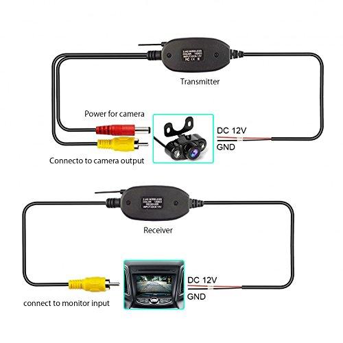 Kit de receptor y transmisor de video inalámbrico de 2.4G para la cámara de visión trasera del vehículo Cámara de respaldo del vehículo de la cámara frontal inversa (CL2.4G)