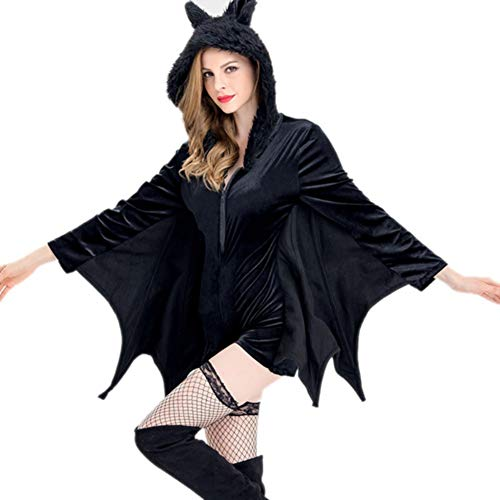 tüm, schwarze Fledermaus Overalls und Hut Phantasie Outfit Scary Evil Halloween Horror Uniform für Halloween Party Cosplay Bühne ()