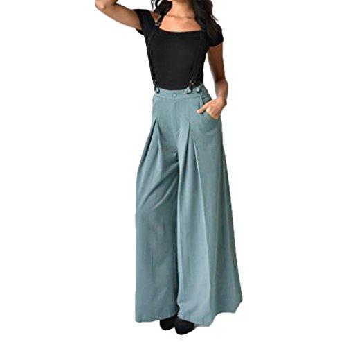 Topgrowth Strap Pantaloni delle Donna a Vita Alta Cinghia Jumpsuit Gamba Larga Svasato Palazzo Pantaloni Tuta da Lavoro (Blu, L)