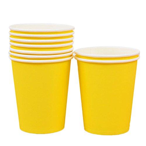 10X Toruiwa Einwegbecher Pappbecher Trinkbecher Becher Papierbecher Einweg Papier für Hochzeit Party Getränke Snacks Heiß Kaltgetränke 250ml (Gelb) (Gelb Papier-snack-becher)